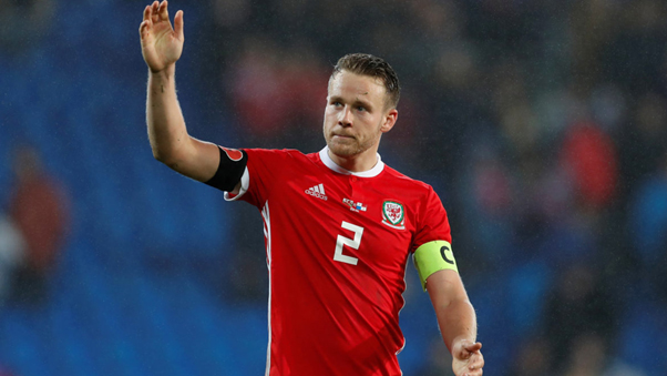 Chris Gunter playing for Wales