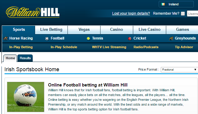 Find some of the best football odds at William Hill Ireland online
